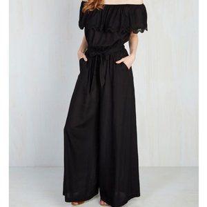ModCloth Flirtatious Sensation Black Jumpsuit XS/S